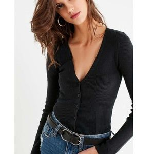 UO Ribbed Black Cardigan